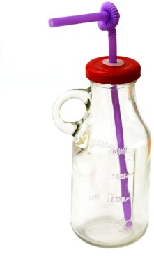 Satyam Kraft Bottle With Straw And Air Tight Cap Glass Mug (500 Ml)