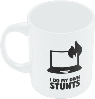 Posterguy I Do My Own Stunts Laptop Minimal Illustration Ceramic Mug (280 Ml)