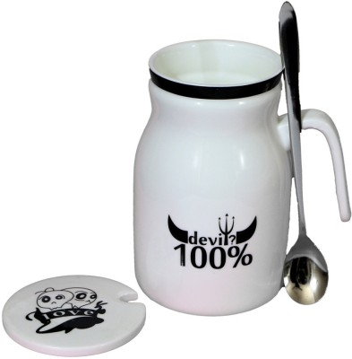 Satyam Kraft Devils  With Metal Spoon And Lid Ceramic Mug (340 Ml)