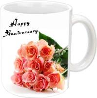Jiyacreation1 Happy Anniversary With Beautiful Roses White Ceramic Mug (350 Ml)