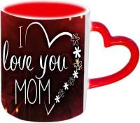 Jiyacreation1 I Love You Mom In Heart Flower Shape Red Heart Handle Ceramic Mug (3.5 Ml)