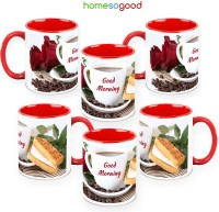 HomeSoGood Coffee With A Rose (Pack Of 6) Ceramic Mug (325 Ml, Pack Of 6)