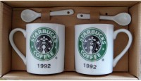 Satyam Kraft Couple S - Starbuck Coffee Mugs With Ceramic Spoon And Box Packing - Version 1 Ceramic Mug (340 Ml, Pack Of 2)
