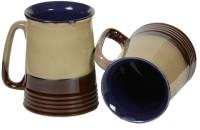 Inhomez Cream Brown Stoneware Beer Ceramic, Pottery Mug (400 Ml, Pack Of 2)