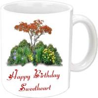 Jiyacreation1 Happy B'day With Nature View White  Ceramic Mug (350 Ml)