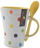 Pratha Unique Dotted Cup With Spoon Ceramic Mug (180 Ml)
