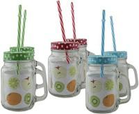 Satyam Kraft Mason Glass Jar - Pack Of 6 - Pattern Lid With Folded Straw And Handle - 3 Colors X 2 Set Glass Mug (504 Ml, Pack Of 6)