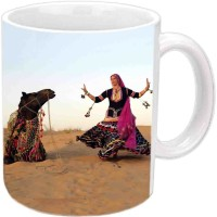 Jiyacreation1 RajasthanI Dance With Camel Multicolor White Ceramic Mug (3.5 Ml)