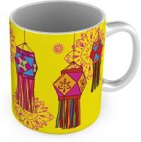 Little India Printed Design Cute Yellow Delightful Coffee  580 Ceramic Mug (300 Ml)