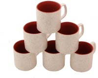 Aarzool Duo Tone Pipe Shape Ceramic Mug (200 Ml, Pack Of 6)