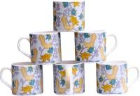 Pearl Bird-6 Cups Set Bone China Mug (180 Ml, Pack Of 6)