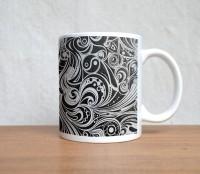 StyBuzz Black And White Stroke Art Porcelain Mug (300 Ml)