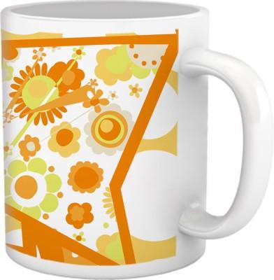 Tiedribbons Cups & Mugs Tiedribbons High Tea_Geometric Toned_ orange Floral Pattern Ceramic Mug