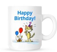Huppme Happy Birthday In Cat Style Ceramic Mug (325 Ml)