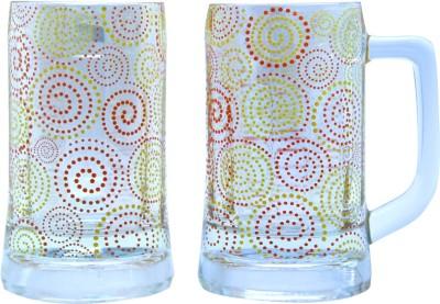 The Elephant Company Beer Polka Paisley Glass Mug (355 Ml, Pack Of 2)