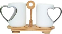 Royal Beei 2 Mugs With Heart Shaped Handles With Coster Set Bone China Mug (300 Ml, Pack Of 3)