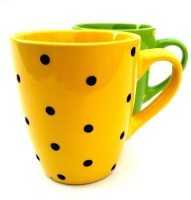 Buyer's Beach Yellow & Green Polka Dots Set Of 2 Porcelain, Ceramic Mug (200 Ml, Pack Of 2)