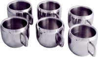 Zahab Tea & Coffee Apple Shape Cup Set Stainless Steel Mug (125 Ml, Pack Of 6)