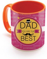 SKY TRENDS GIFT Dad You Are The Best With Dark Pink Color And Yellow Best Gifts For Happy Father's Day Inner Orange Color Ceramic Mug (320 Ml)
