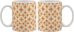 Artifa Plates & Tableware Artifa Orange Flowers Pattern Porcelain, Ceramic Mug