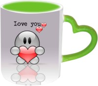 Jiya Creation1 Love U Heart Design Valentine Green Handle Ceramic Mug (350 Ml)