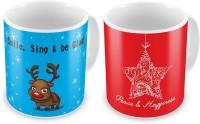 Little India Cute Reindeer Print Delightful Coffee S Pair 833 Ceramic Mug (300 Ml, Pack Of 2)