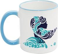 Fashion Envoy Beauty Woman Sky Mug (White, Blue, Pack Of 1)