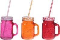 Platex Classy Mason Jar Glass Mug (470 Ml, Pack Of 3)