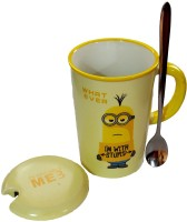 Satyam Kraft Minions  - WHAT EVER  With Metal Spoon And Lid Ceramic Mug (340 Ml)