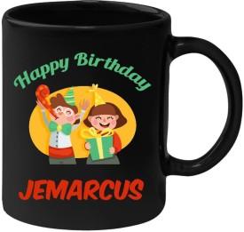 Huppme Happy Birthday Jemarcus Black  (350 ml) Ceramic Mug
