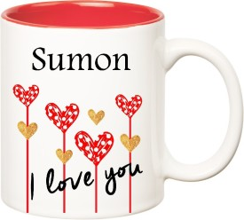 HuppmeGift I Love You Sumon Inner Red  (350 ml) Ceramic Mug