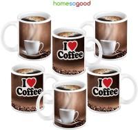 HomeSoGood I Love Coffee Printed Ceramic Mug (280 Ml, Pack Of 6)