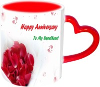Jiyacreation1 Happy Anniversary My Sweetheart Red Heart Handle Ceramic Mug (3.5 Ml)