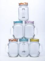 Satyam Kraft Mason Jars Glass Mug (700 Ml, Pack Of 8)