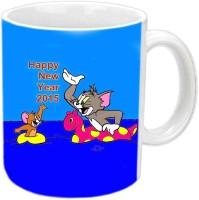 RajLaxmi Tom & Jerry Happy New Year White  Ceramic Mug (350 Ml)