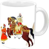 Jiyacreation1 Lovely Horse Theme Multicolor White Ceramic Mug (3.5 Ml)