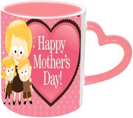 Jiyacreation1 Happy Mother's day with Babies Pink Heart Handle Ceramic Mug