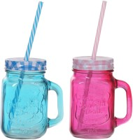ZIDO Colorful Designer Mason Jar Glass Mug (450 Ml, Pack Of 2) - MUGEGH42VMT4QTMW