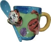 Dragon 3D Tiger Design  With Spoon Ceramic Mug (250 Ml)