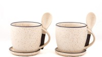 Swagger Ceramic  Set / Cup Set With Spoon And Coaster (Set Of 2) Ceramic Mug (175 Ml, Pack Of 2)