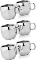 Radhe Radhe Apple Cup Set Stainless Steel Mug (250 Ml, Pack Of 6)