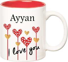 HuppmeGift I Love You Ayyan Inner Red  (350 ml) Ceramic Mug