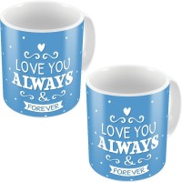 Little India Blue Designer Printed Cute Coffee S Pair 706 Ceramic Mug (300 Ml, Pack Of 2)
