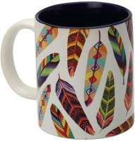 The Elephant Company Tropical Feathers White Coffee  Ceramic Mug (180 Ml)