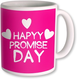 PhotogiftsIndia Happy Promise Day with White Heart Ceramic Mug