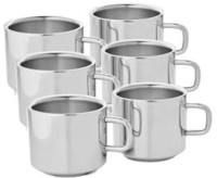 Bosky Double Wall Sobar Set Of 6 Stainless Steel Mug (150 Ml, Pack Of 6)