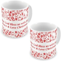 Home India Fancy Printed Style White Coffee S Pair 598 Ceramic Mug (300 Ml, Pack Of 2)