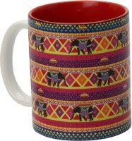 The Elephant Company Rangeen Hathi Ceramic Mug (180 Ml)