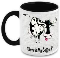 HomeSoGood Cow Wants Coffee (Set Of 2) Ceramic Mug (325 Ml, Pack Of 2)