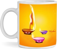 Shopkeeda Blue Shubh Kitchen Dining Ceramic Diwali  By Shopkeeda Ceramic Mug (350 Ml)
